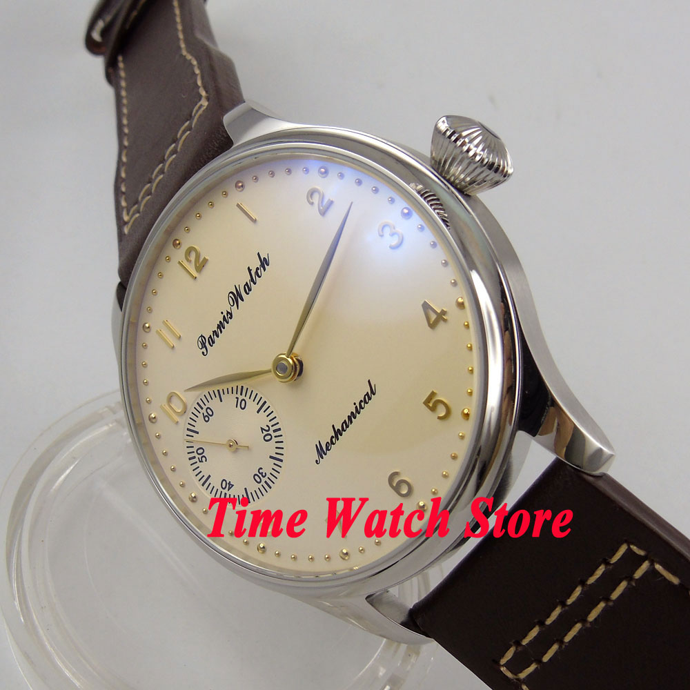 Parnis 44mm Beige Dial 17 jewels mechanical 6497 hand winding movement mens watch men 396Parnis 44mm Beige Dial 17 jewels mechanical 6497 hand winding movement mens watch men 396