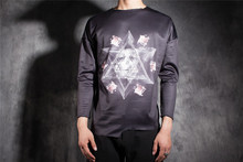 Male long-sleeve o-neck autumn men's clothing clothes gangnam stereo animal print patterns graphic t-shirt