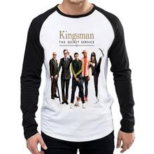 Kingsman T-Shirt White Color Mens Fashion Long Sleeve The Secret Service T-shirt Tops Tees tshirt Full T shirt