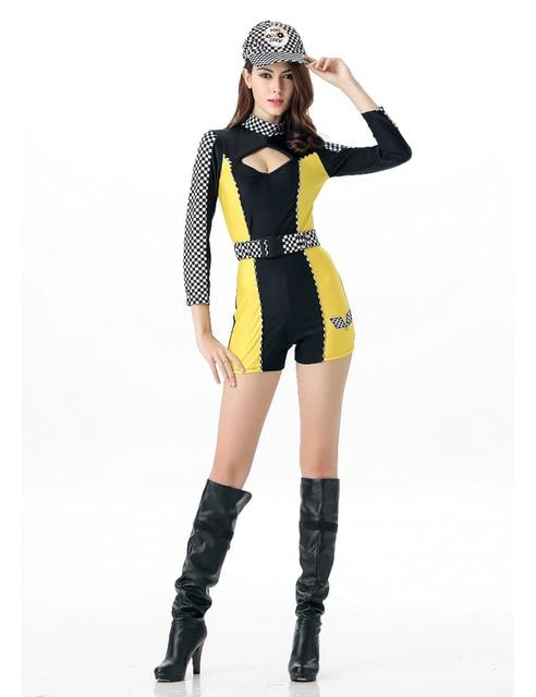 419c9434fb MOONIGHT 3 Pcs Sexy Car Racing Costume Women Long Sleeve Jumpsuit  Personality Super Car Girl Fancy