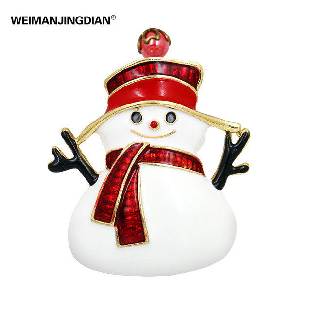 Factory Direct Sale Red Enameled Snowman Brooch Pins for Christmas in Gold Color