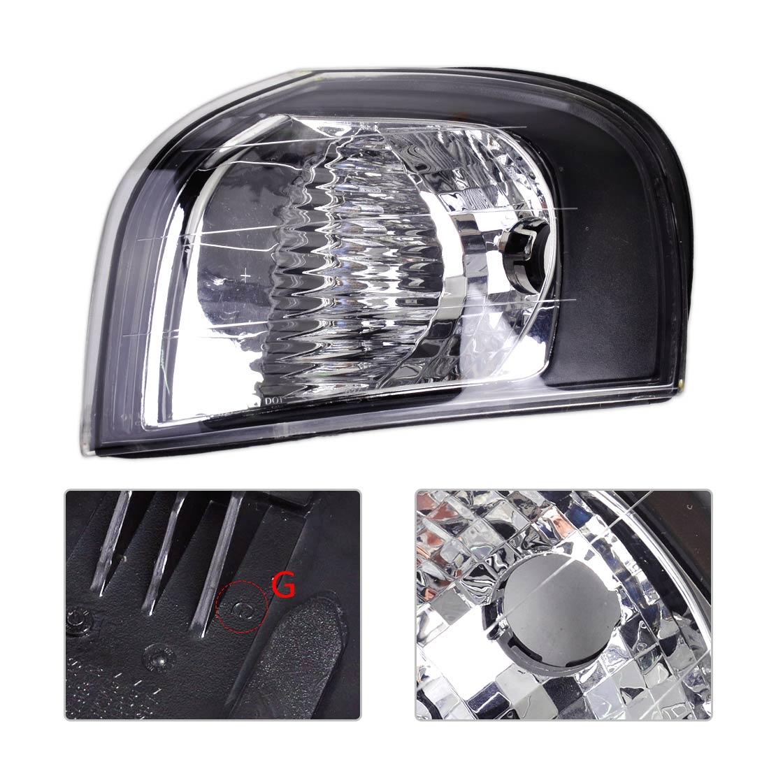 DWCX автомобиль черный пластик левый указатель поворота угол света лампы 30655422 подходят для Вольво S80 1999 2000 2001 2002 2003 2004 2005 2006