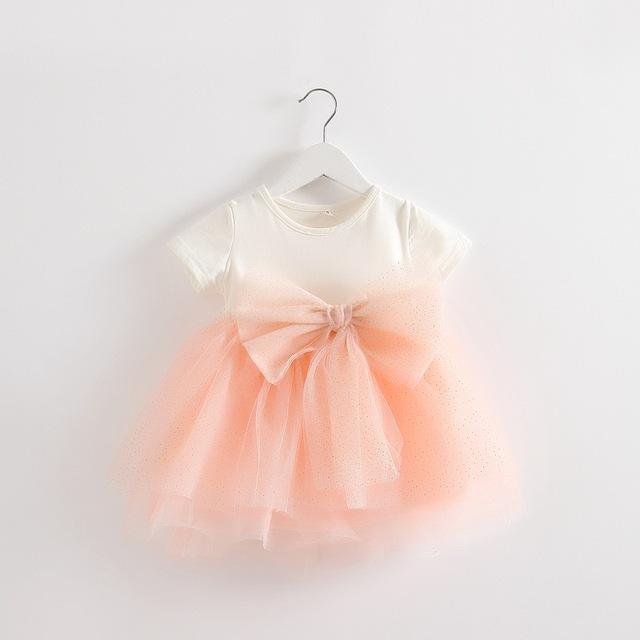 Novo 2016 verão vestido da menina do bebê recém-nascidos de malha vestido de princesa Net Fios bowknot costura vestido para bebê infantil meninas tutu vestido