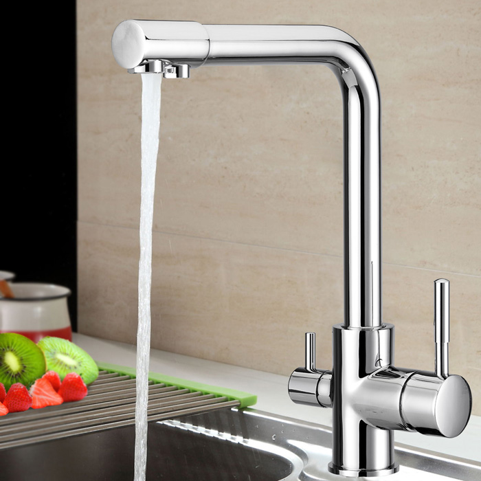 ФОТО New Dual Handle Chrome Plated solid brass Water Filter 3 Way Ro Kitchen Faucet Pure water tap
