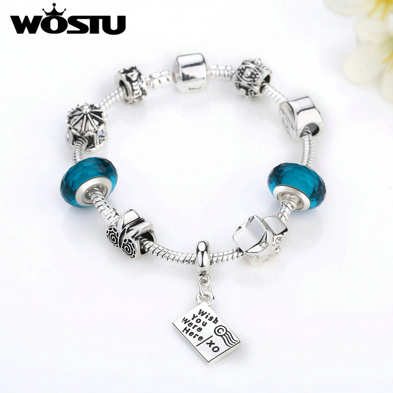WOSTU High Quality I Love Travel  Charm Bracelets For Women DIY Glass Beads Fashion European Silver Jewelry Gift SDP1915