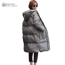 Winter Jacket Woman 2018 Loose Plus Size Hooded Parka Casual Warm Long Outerwear Down Cotton Coat Long Puffer Jackets Okb374