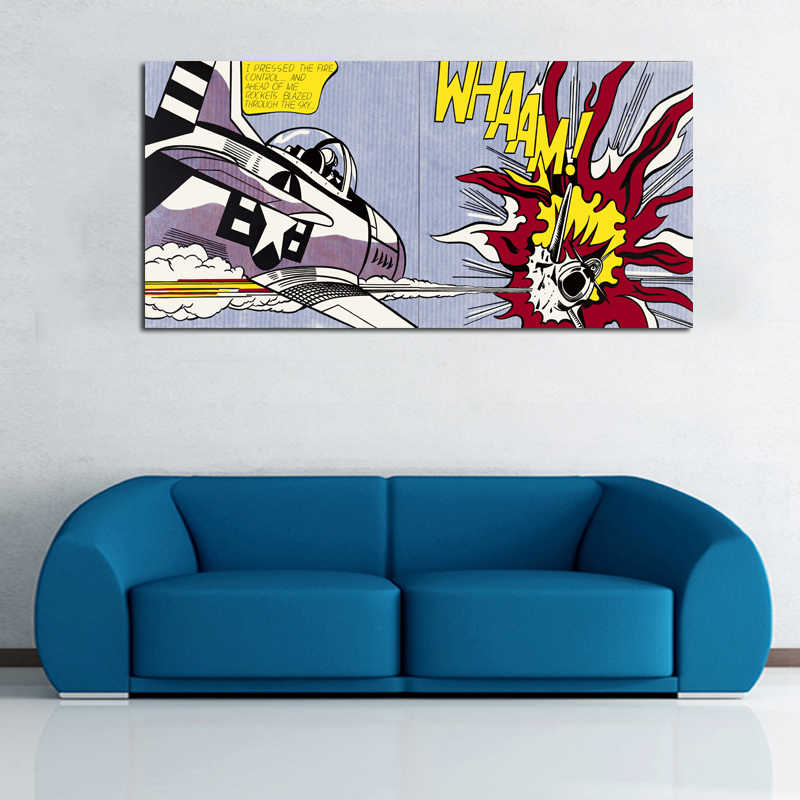 RELIABLI ART Roy Lichtenstein Pop Art Canvas Painting Abstract Art For Living Room Wall Pictures Big Size Canvas Prints No Frame