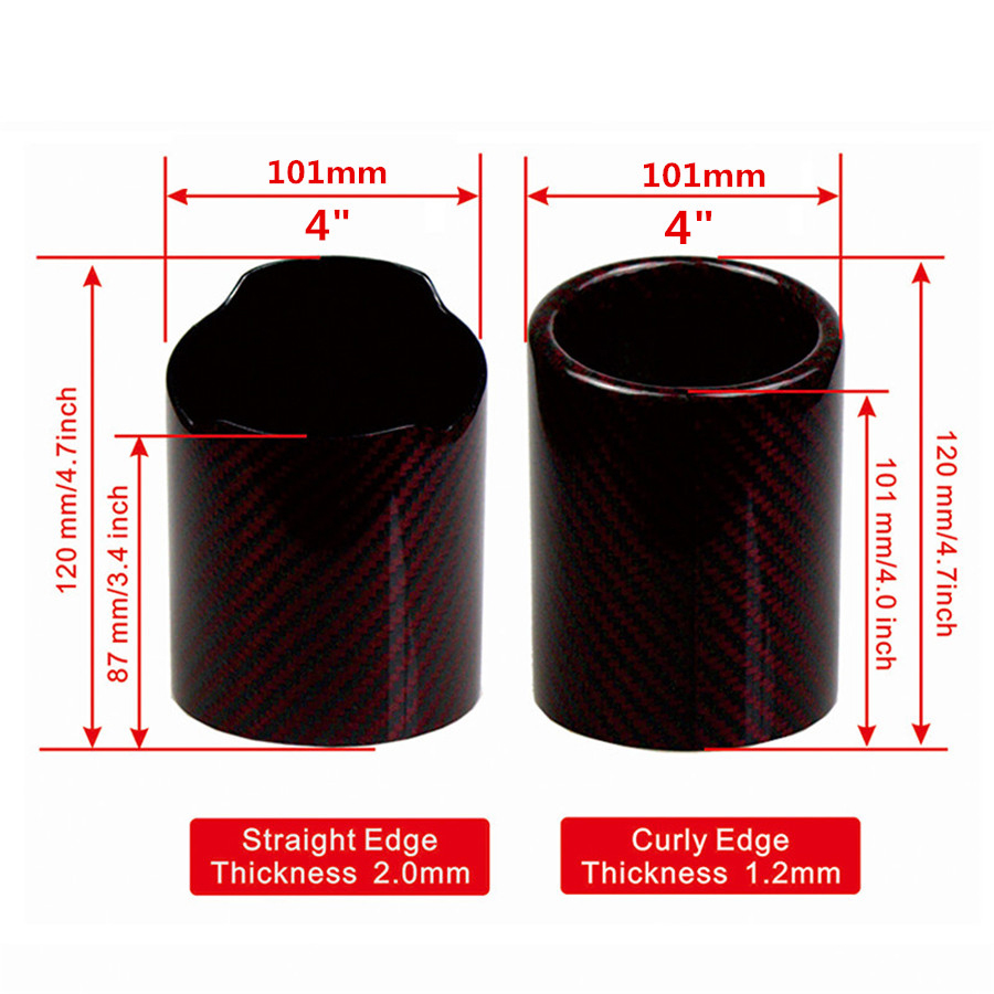 Image 5 - 101mm Carbon Fiber Car Exhaust muffler tip Red Glossy Pipe Tip case Exhaust Tip housing With logo-in Exhaust Headers from Automobiles & Motorcycles