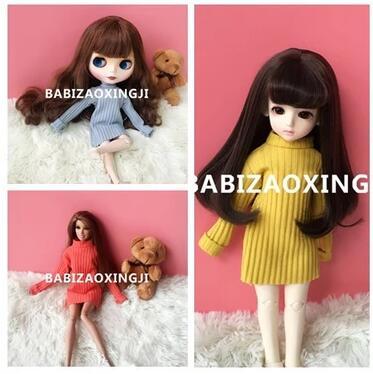 1/6 bjd blyth doll clothes Doll Accessories Fashion colorful sweater for barbie doll blyth clothing 1 3 1 4 1 6 1 8 1 12 bjd wigs fashion light gray fur wig bjd sd short wig for diy dollfie
