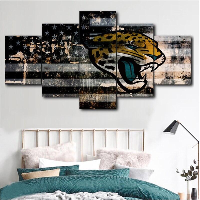 5 Panel Jacksonville Jaguars Sports Logo Painting Canvas