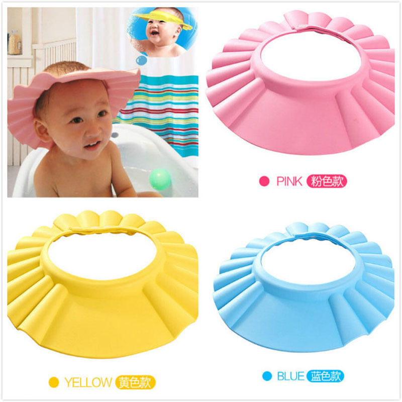 2017 Brand New Baby Children Kids Safe Shampoo Bath Bathing Shower Cap Hat Wash Hair Shield Adjustable Elastic Shampoo Cap #2