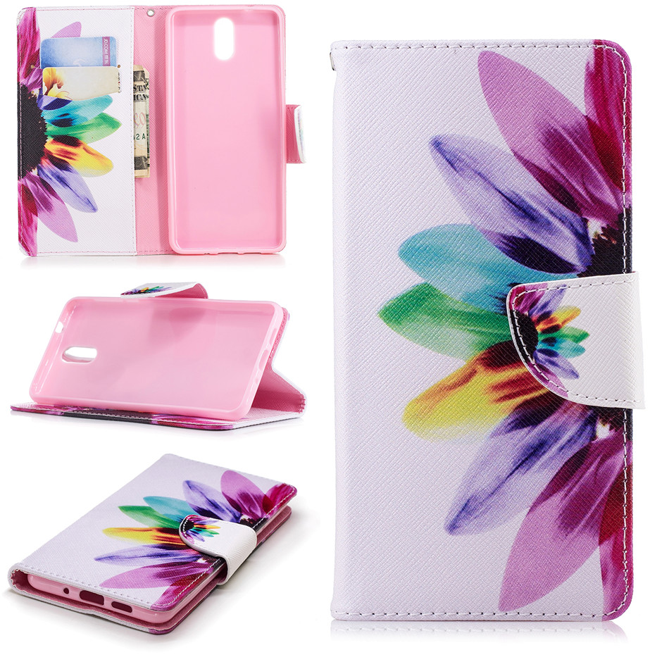 Phone Case For <font><b>Nokia</b></font> 2 3 5 6 8 3310 2017 2.1 3.1 <font><b>5.1</b></font> 6.1 7.1 <font><b>2018</b></font> <font><b>Luxury</b></font> Cover Bear Sunflower Plum Tree Wallet Leather Capa E07Z image