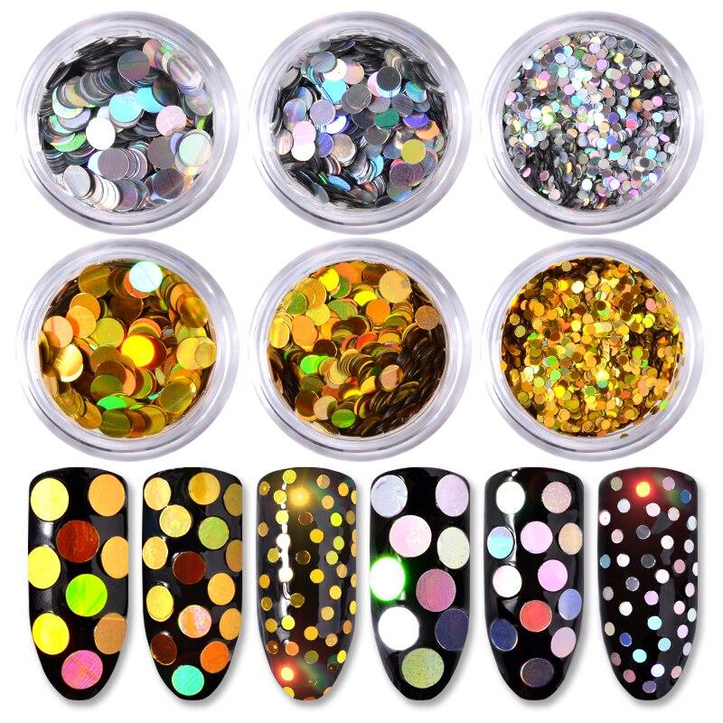 In 6 Teile/satz Holographische Silber Gold Runde Nagel Pailletten Glitter Flakes Gemischt Größe Paillette 3d Charme Nagel Kunst Dekorationen Ausgezeichnete QualitäT