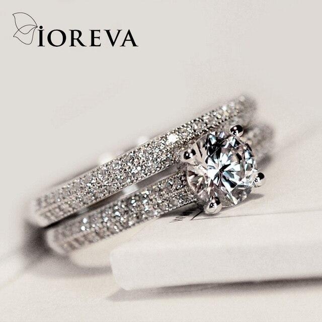 ioreva bague de fian ailles set zircon anneaux de mariage pour les femmes charmes bijoux 2017. Black Bedroom Furniture Sets. Home Design Ideas