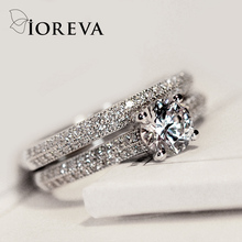 IOREVA engagement ring set cubic zirconia wedding rings for women charms jewelry 2017 anillos anel casamento aneis bague mariage