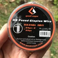 GeekVape SS-cable de cinta fundido SS316 de 10 pies, 100% Original, alambre fundido A1 Clapton, bricolaje, para cigarrillo electrónico RDA RBA