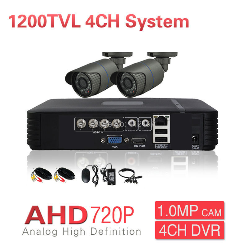 Home CCTV 1200TVL 4CH AHD DVR Security Camera System 1080P HDMI 3-IN-1 Hybrid HVR NVR DVR  2PCS 960H 720P 1.0MP Day Night IR CUT cctv camera dvr system ahd 720p kit optional 2 3 4 channel cctv dvr hvr nvr 3 in 1 video recorder infrared dome camera security