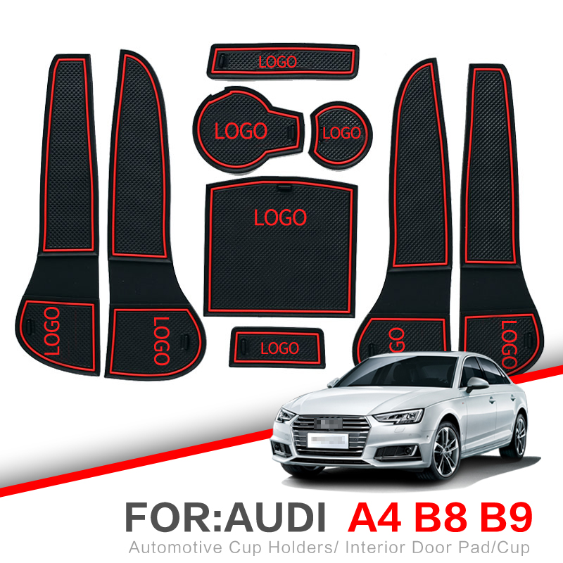 ZUNDUO Anti-Slip Gate Slot Mats For Audi A4 B8 B9 2008-2019 Accessories Interior Door Pad Car Cup Holders RED WHITE