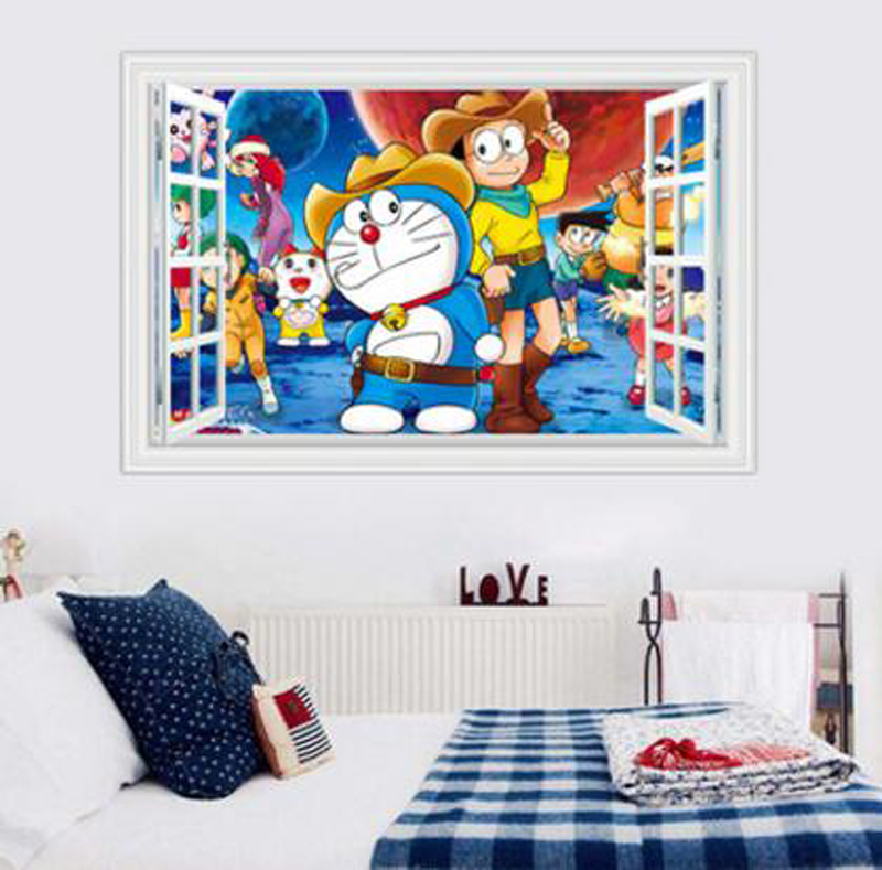 Vibrant Blue 3D Cartoon Doraemon Living Room Stickers Wall Pictures Children Room Cartoon Wall Stickers