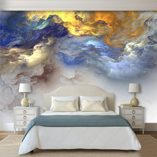 3d Abstract Colorful Cloud Cloudy Wallpaper Mural for Bedroom Wall