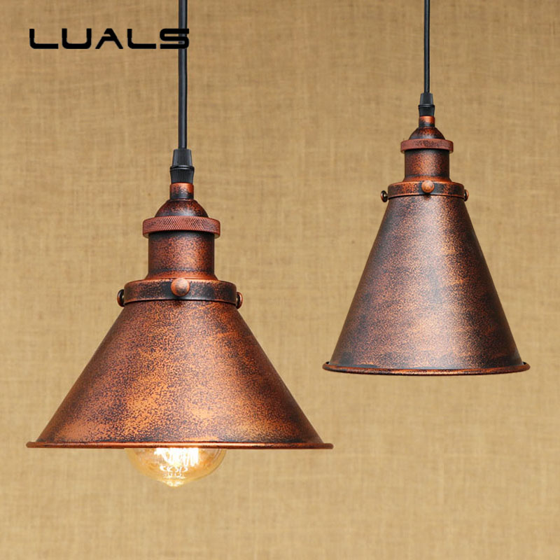 2 pcs Loft Retro Light Rusty color Pendant Lamp Cafe Bar Pendant Lights Creative Edison Lamps Industrial Style Pendant Lighting vintage edison chandelier rusty lampshade american industrial retro iron pendant lights cafe bar clothing store ceiling lamp