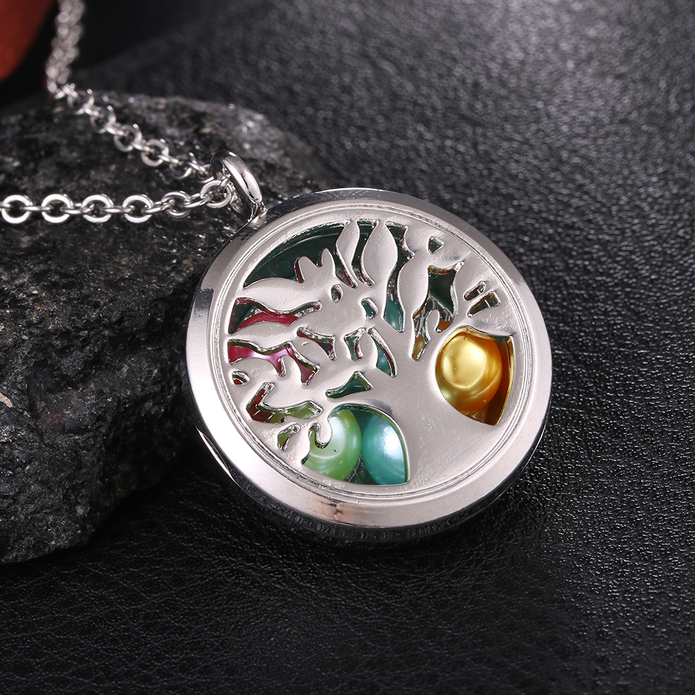 5pcs Tree Of Life Floating Locket Pendant Essential Oil Diffuser DIY Necklace