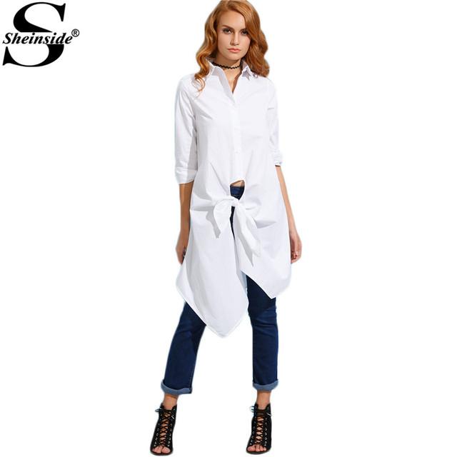 Branco Atado Frente Longa Camisa Sheinside Mulheres Simples Design de Roupas Outono de 2016 Botões de Lapela Manga Comprida Blusa