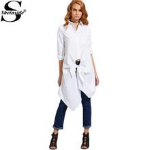 Sheinside Белый Узлом Спереди Длинные Рубашки Женщины Обычная Одежда Осень 2016 Нагрудные С Длинным Рукавом Кнопки Дизайн Блузка