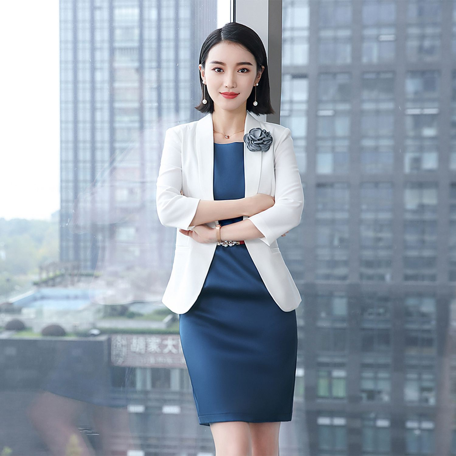 Traditional OL classic seven-point sleeve Suit 2018 spring summer professional female long skirt suit formal wear work suit