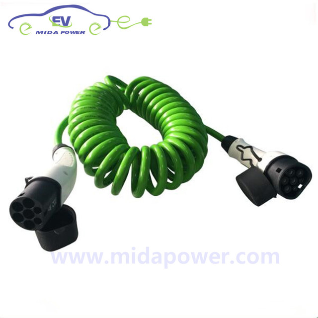 duosida 16A 5m Type 2 to Type 2 EV Spring Cable IEC 62196-2 EV Plug Connector 16Amp EV Coiled Cable