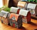 2016 Chegada Nova Caixa Zakka Estilo Mini Europa Pequena Casa Pintada Caixa de lata Alívio Estéreo Caixa de Armazenamento Kit Caixa de Jóia 12 Pçs/lote