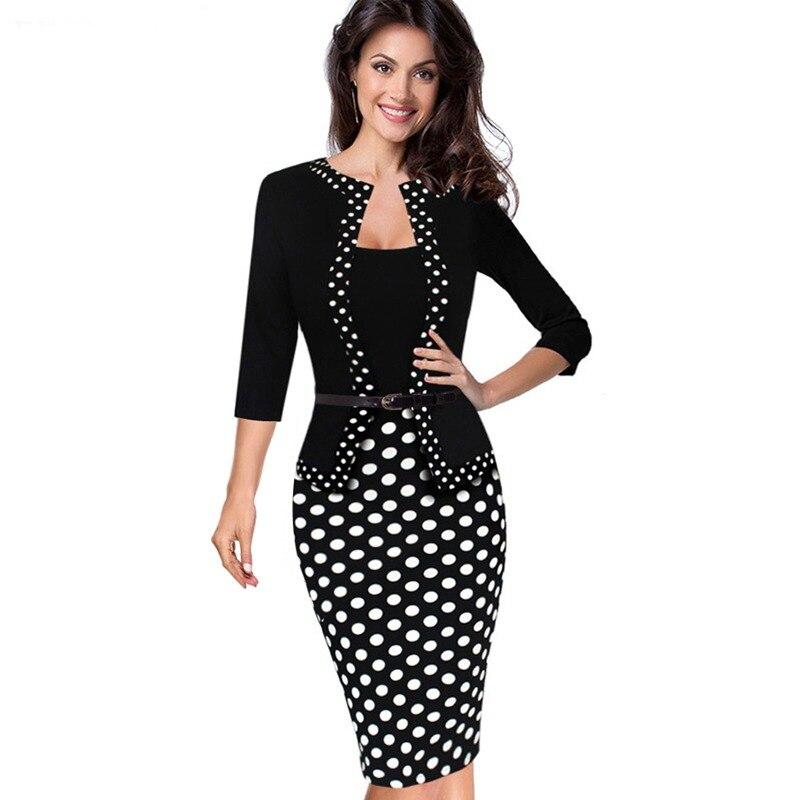 1d0591f92b1a7 Femmes automne Faux veste une-pièce 1950 s rétro à pois contraste Patchwork  porter au