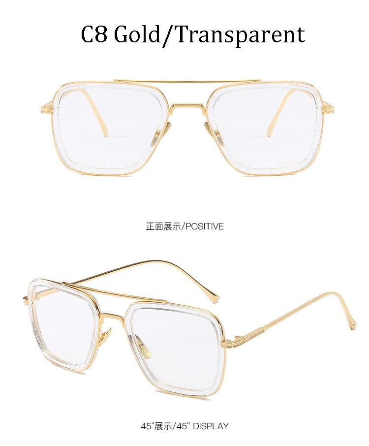 luxury Fashion Avengers Tony Stark Style for women Sunglasses Men Square Brand Design Sun Glasses Oculos Retro male iron Man 12