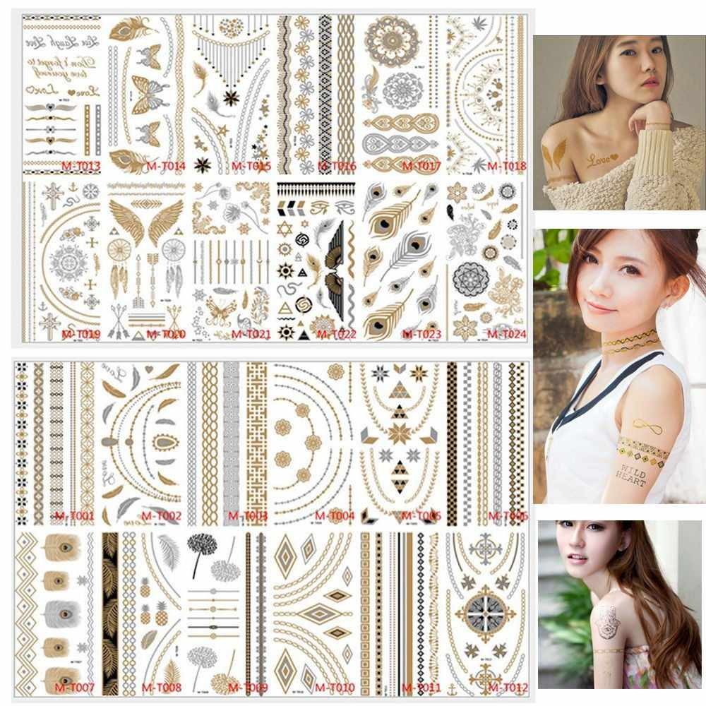 8Pcs/set Waterproof Temporary Body Paint Makeup Gold Tattoo Flash Tattoos Temporary Tattoo Makeup Metallic Tatto Bronzer