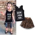 2017 de Alta calidad de la ropa del bebé establece niños marca ropa set Niñas ropa de algodón sin mangas top + falda de leopardo traje