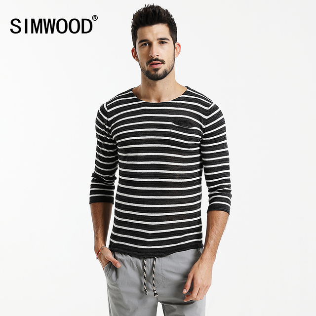 5078019121c0d SIMWOOD 2019 Autumn Three Quarter Striped T Shirts Men Slim Fit 100% Linen  Breathability Breton Top TD1173