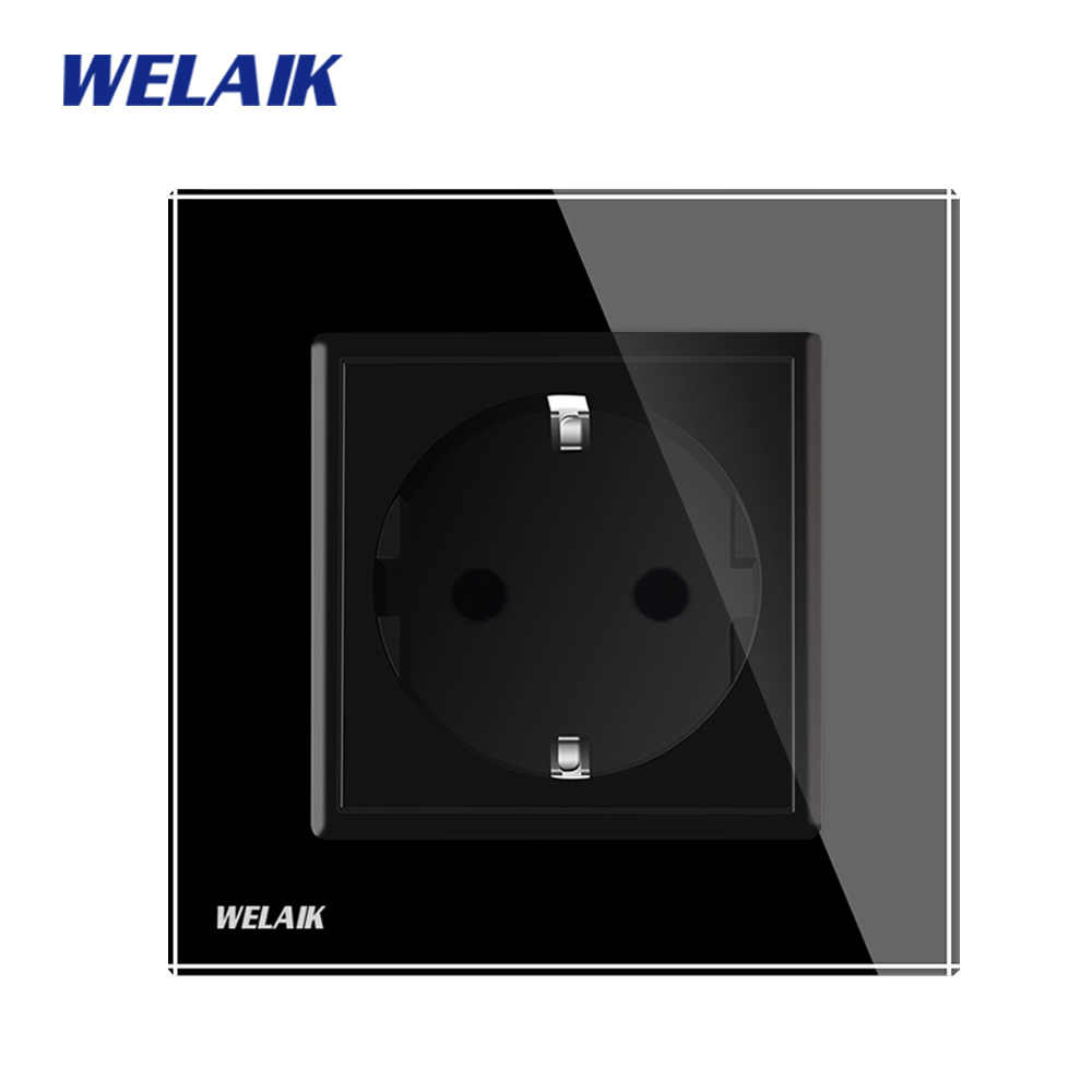 WELAIK EU Wall-Socket EU Standard-Power Socket-Black Crystal-Glass-Panel AC 110~250V 16A Wall-Power-Socket A18EB