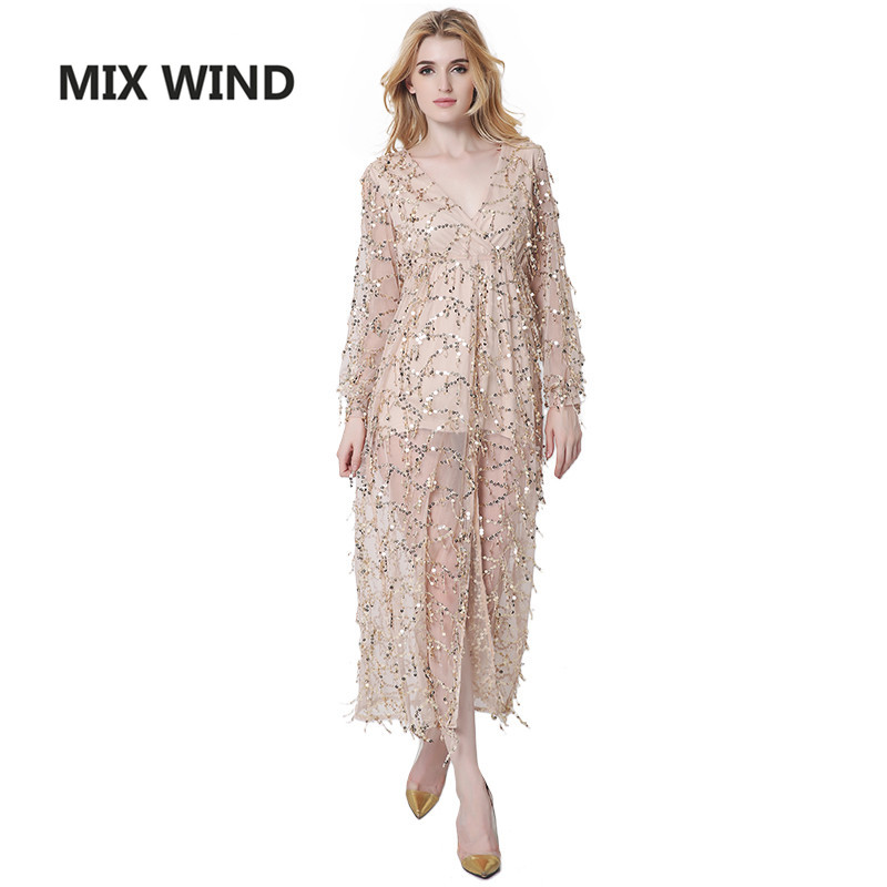 Buy Cheap MIX WIND 2017 new Noble luxury sequins tassel deep v collar split sexy dress free shipping