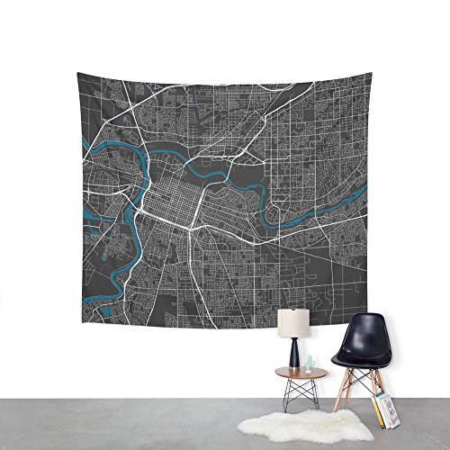 Sacramento City Map Black Colour Wall Tapestry Wedding Party Gift Bedspread Beach Towel Yoga Picnic Mat