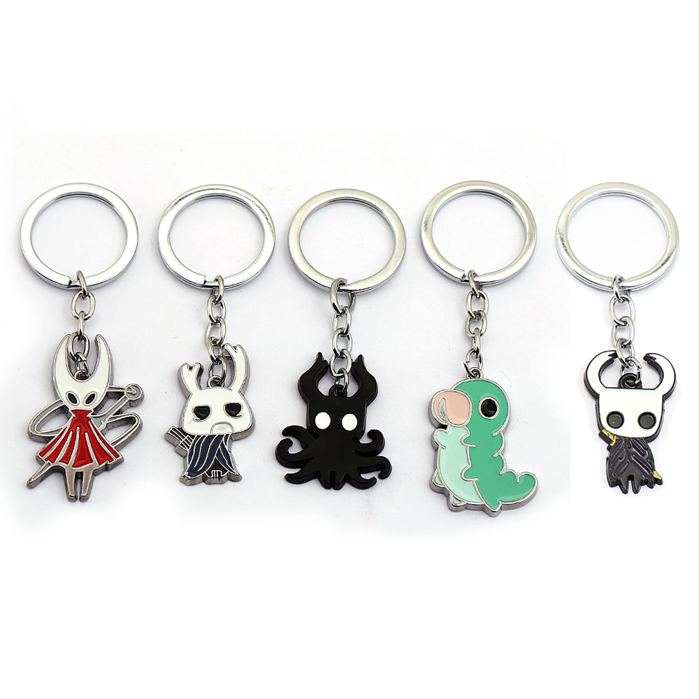 New Game Hollow Knight Keychain Cartoon Metal Octopus Pendant Key Rings Key Holder Men Women Figure Brelok Chaveiro Llaveros