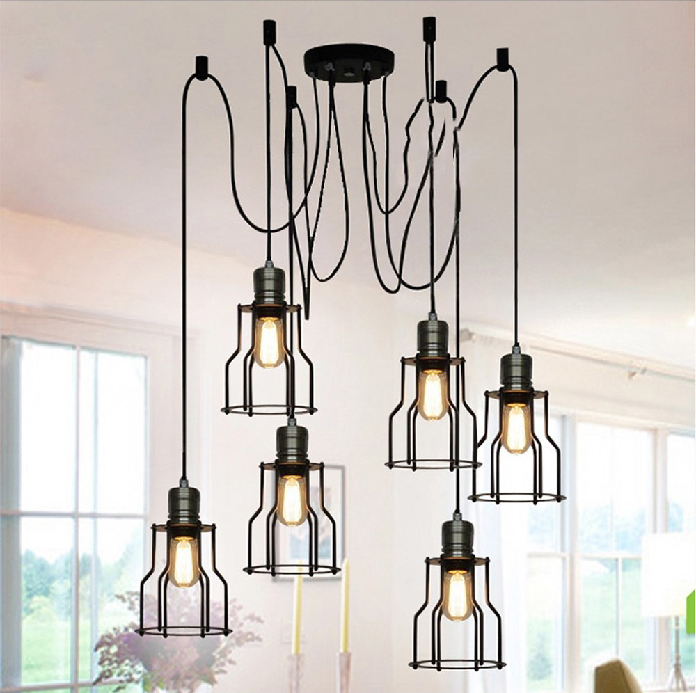 1 Head Metal Wire Cage Pendant Light Fixtures Classical Industrial ...
