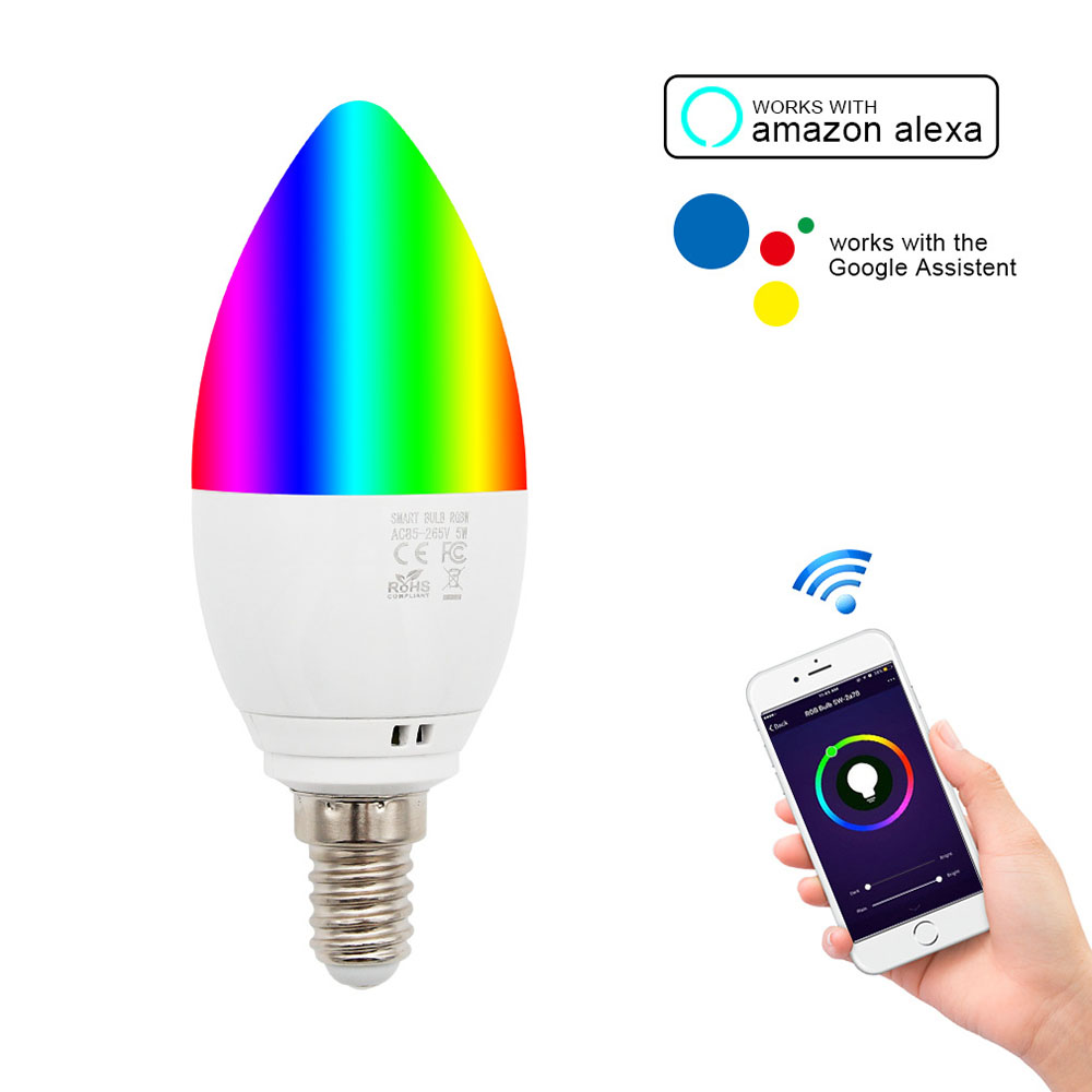 E14 Wifi Smart Bulb LED Candle Lamp Voice//APP Control for Alexa Google Home