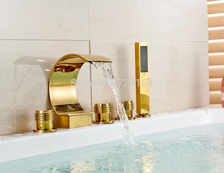 Free shipping! Modern Deck Mount Tub Faucet Golden Brass Sink Mixer Golden Brass W/ Hand Shower smith w golden lion