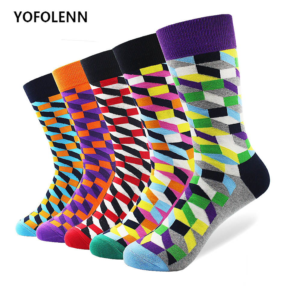 5 pair/lot Fashion Mens filled Optic Puzzle Funny Combed Cotton Socks High Quality Casual Colorful Crew Happy Socks Wedding