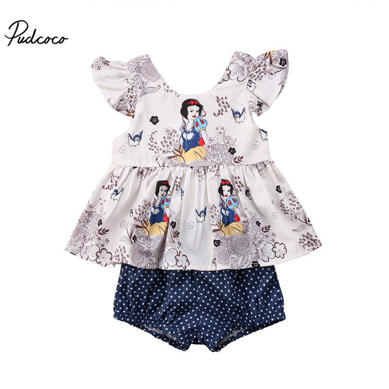 Newborn Baby Girls Clothes Floral Cartoon Short Sleeve Tops Vest T shirt+Shorts Pants 2pcs Outfits Clothes Set 2pcs children outfit clothes kids baby girl off shoulder cotton ruffled sleeve tops striped t shirt blue denim jeans sunsuit set