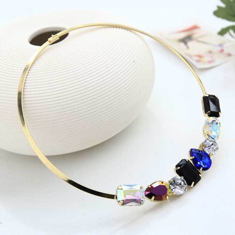 New hot fashion jewelry 7 colour crystal  gold plated character charm collar necklace for women  ladies for party #N012