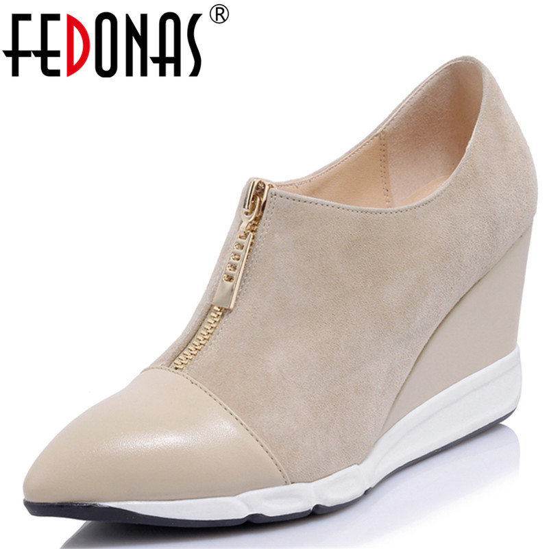 FEDONAS 2018 Women Pumps High Heels Brand Autumn Pointed Toe Pumps Wedges Heel High Quality Comfort Shoes Woman Ankle Boots new women pumps transparent wedges high heels ankle pointed toe high heels pring autumn sexy shoes woman platform pumps