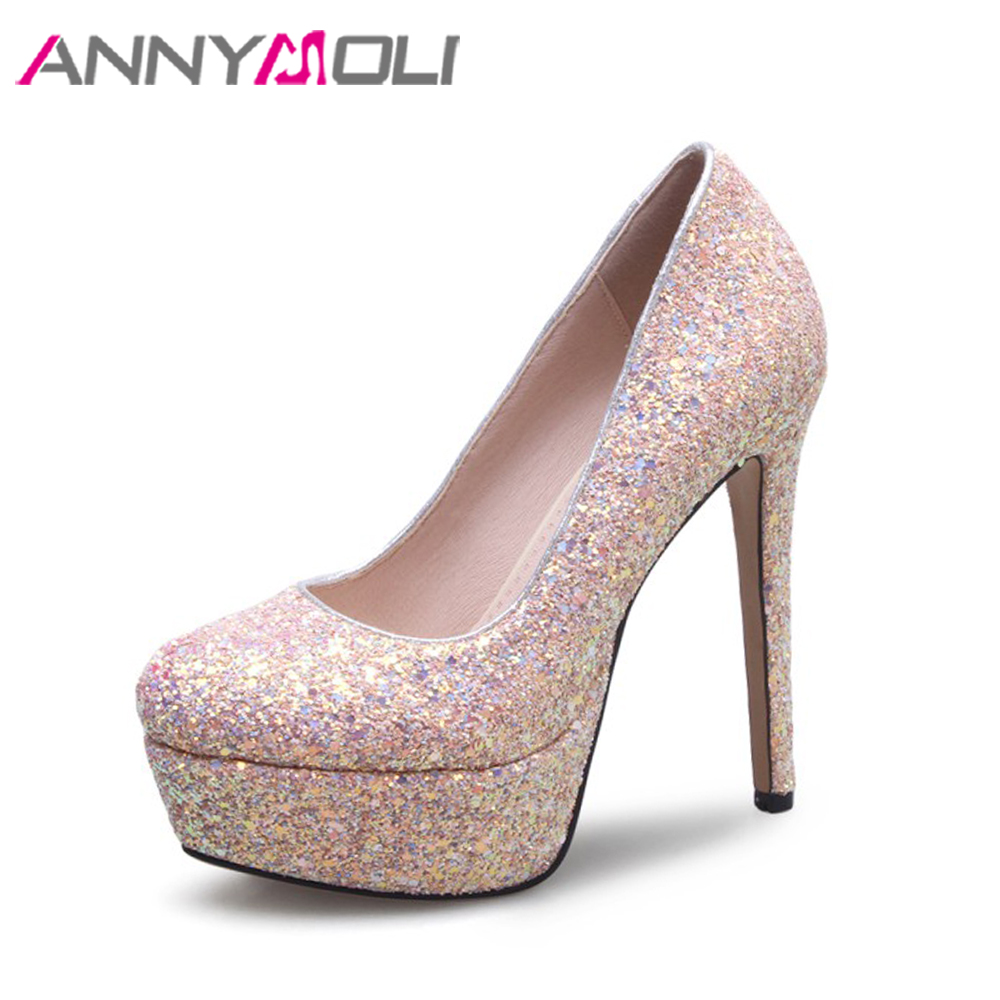 ANNYMOLI Extreme High Heels White Wedding Shoes Glitter Platform High Heels Sexy Stiletto Shoes Bling Bridal Pumps Size 33-43 обои