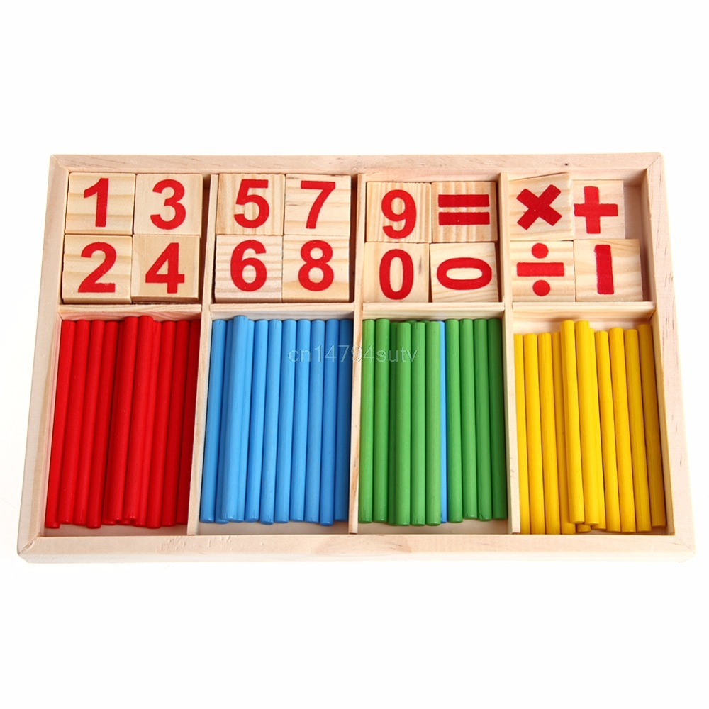 Math Manipulatives Wooden Counting Sticks Baby Kids Preschool Educational Toys #H055#