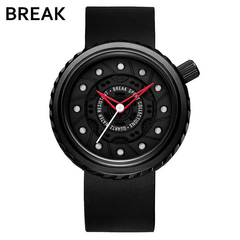 BREAK Men Cool Quartz Sport Watch Man Rubber Strap Casual Fashion Top Luxury Brand Waterproof Geek